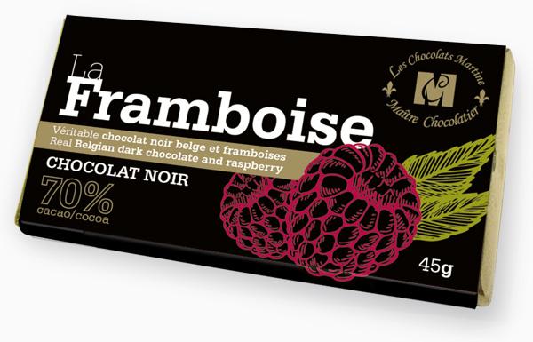 Savourez le goût riche et onctueux de La Framboise. Un pur délice de véritable chocolat noir belge à 70 % de cacao et de framboises.
